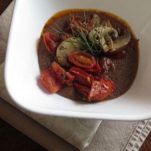 Healthy Gluten Free Teff Polenta with Tomato Mushroom Topping