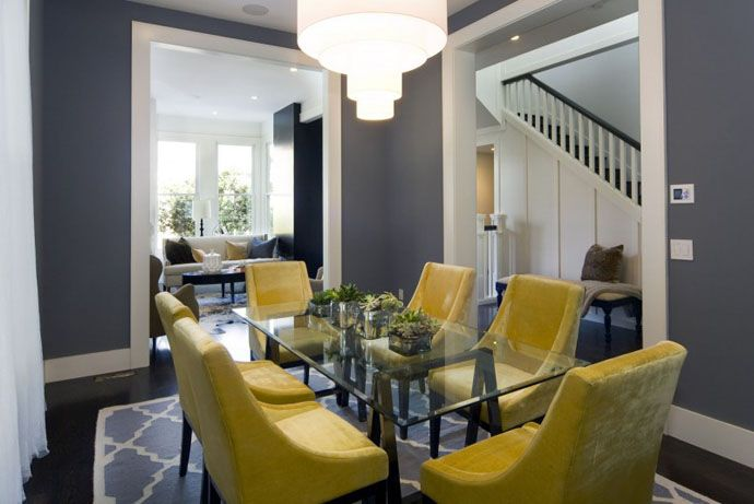 Yellow and grey home interiors pinterest for Grey yellow dining room ideas