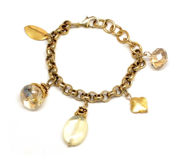 vintage gold handmade charm bracelet