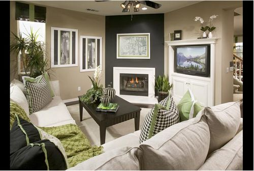 Candice Olson / Living room w/corner fireplace