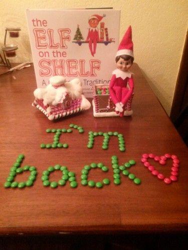 "Elf on the Shelf ideas  ""Welcome Back!""... For Raegan's Snowflake"
