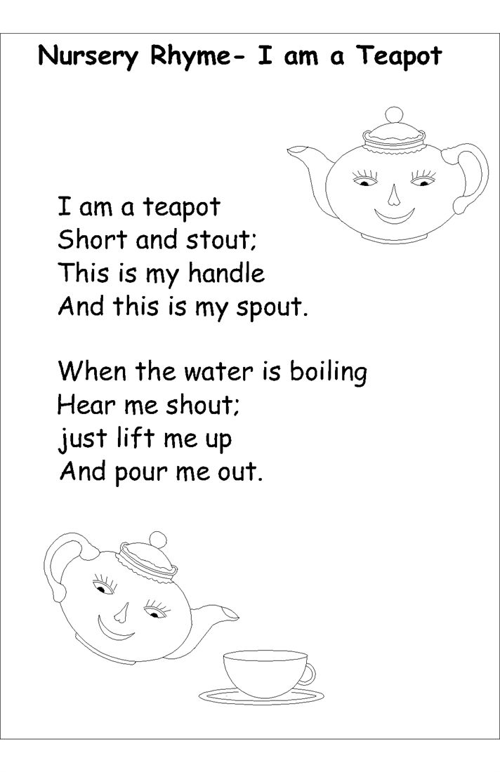 i am a little teapot coloring pages - photo #4