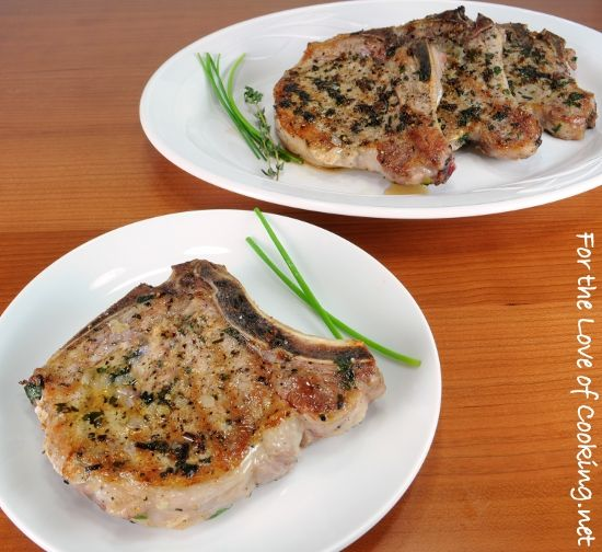 Herb Pork Chops with Caramelized Shallots | Yummy | Pinterest