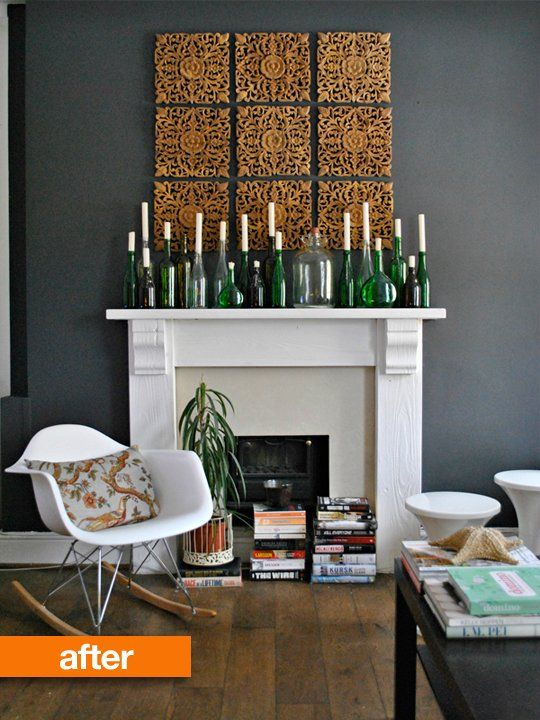 Before & After: Marvellously Moody Dark Fireplace Wall