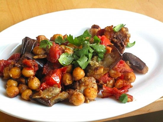 Masala Eggplant and Chickpeas