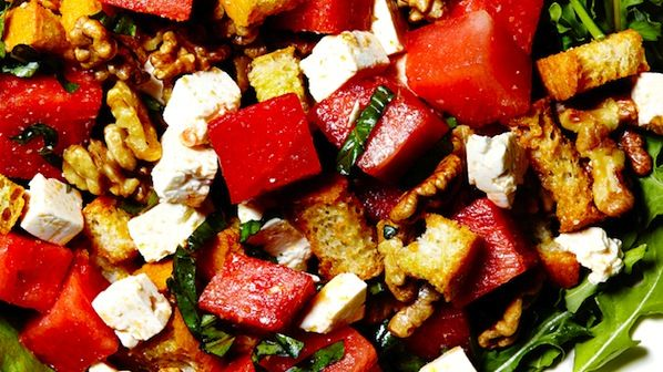 Watermelon panzanella salad -- with honey mustard dressing and feta.
