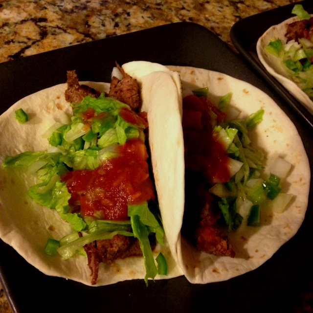 Grilled Flank Steak Tacos marinated in habanero and lime, topped with ...