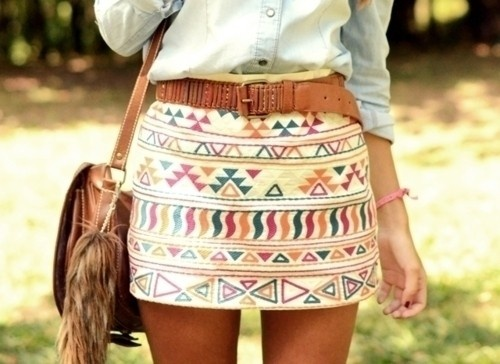 Aztec print skirt with Oxford shirt