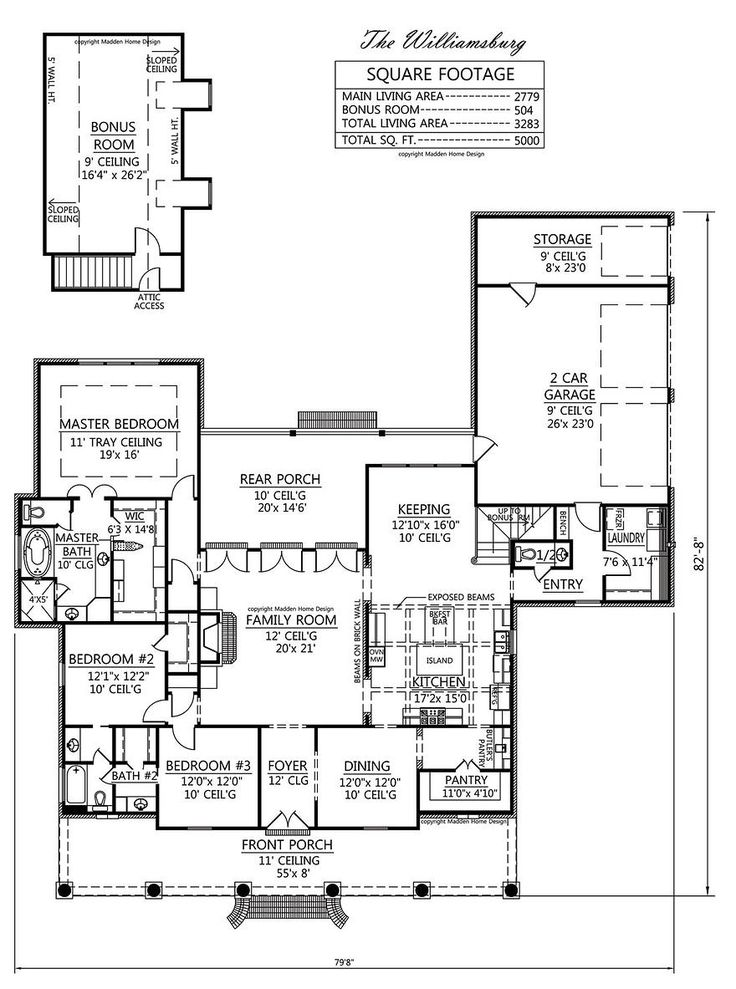 Madden home design the williamsburg house plans for Williamsburg house plans