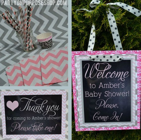 Hearts baby shower party decorations pink gray fully assembled for Baby shower decoration packages