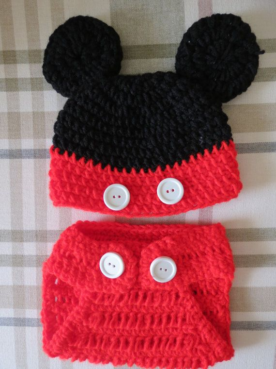 Crochet mickey mouse hat and diaper cover by sweetswirlshop 15 00