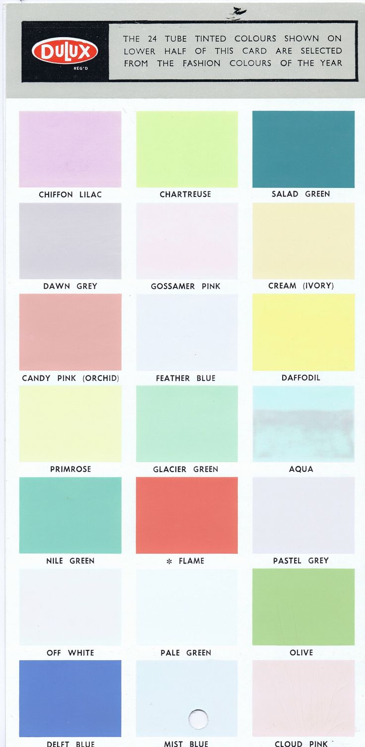 Original Dulux 1950's 1960's colour card.  Colours are not exact due to scanner and monitor settings. From Secret Design Studio blog.  Secret Design Studio knows Mid-Century Modern Architecture.  www.secretdesignstudio.com