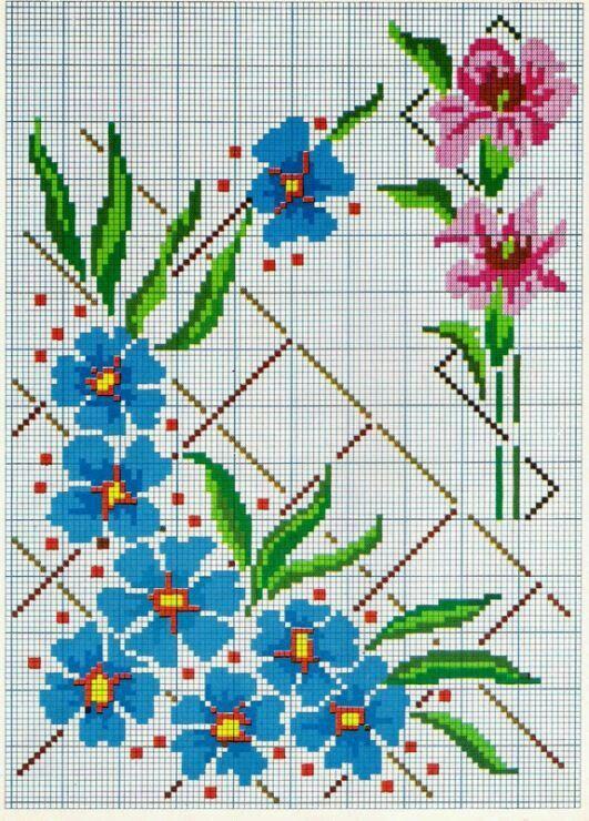 Вышивка крестом с цветочными мотивами