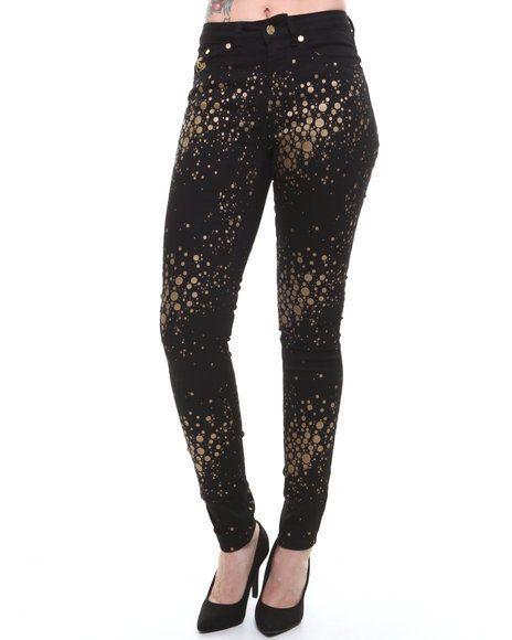 COOGI - Women Black Gold Sparkle Jeans