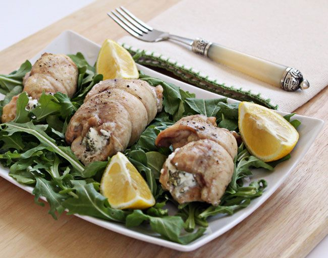 Chicken Roll Ups Stuffed with Goat Cheese and Herbs - sub fresh goat ...