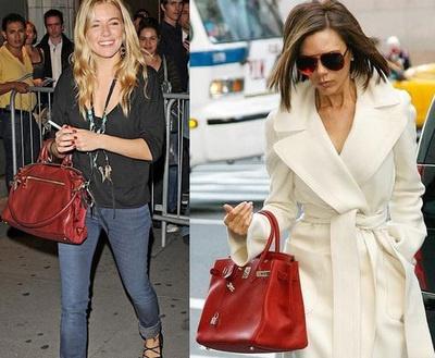 Red handbags celebrity