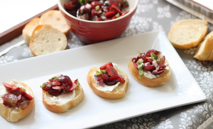 Cherry & Grape Salsa with Goat Cheese Crostini