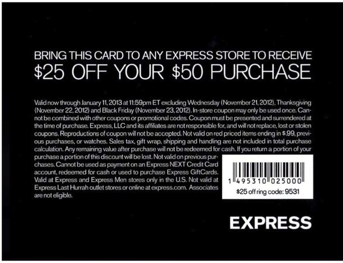 Express 25 off 50 express 25 off your 50 purchase until january