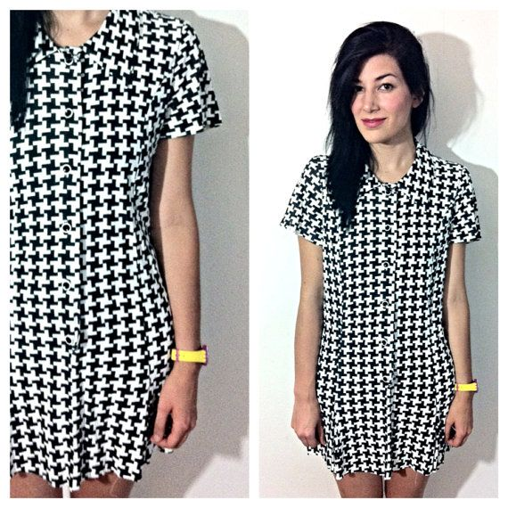 Vtg 60s black and white slinky print dress by alamedavintage 55 00