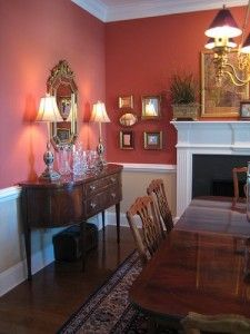 Coral red dining room dining rooms pinterest for Traditional red dining room