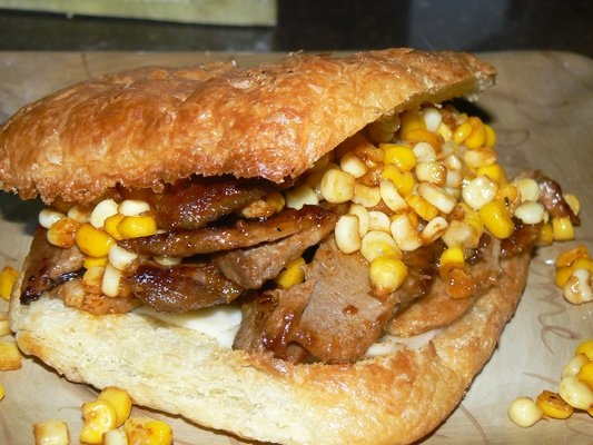 Roasted Pork in Barbecue Sauce, Swiss Cheese, and Roasted Corn Relish ...
