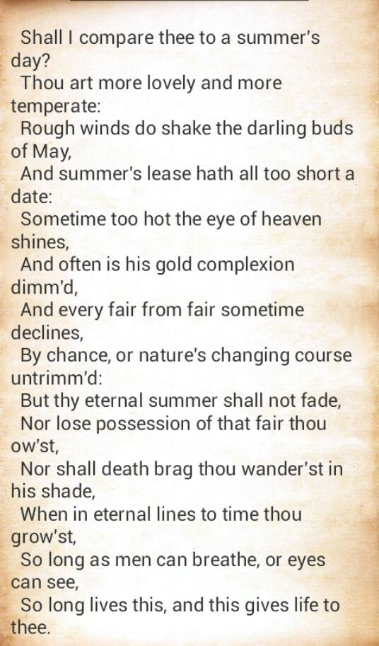 comparison of two poems shall i compare Compare andcontrast the poems by wiliam shakespeare'shall i compare thee to a summer's day and howard moss  howard moss' 'shall i compare thee to a summer's day' is an early example of shrinklit: rewriting an accepted classic with fewer words  the main difference between the two poems is that shakespeare's sonnet is a.