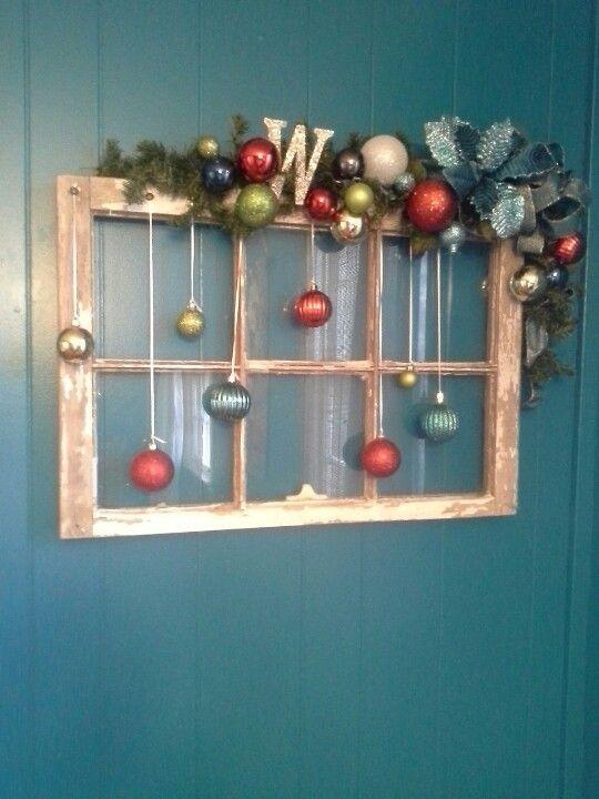 Decorating Ideas > Old Window Christmas Decoration  CrAfTy CrAfTs  Pinterest ~ 220626_Christmas Decorating Ideas Using Old Windows
