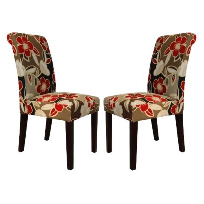 Avington Dining Chair Set Of 2 Red Floral