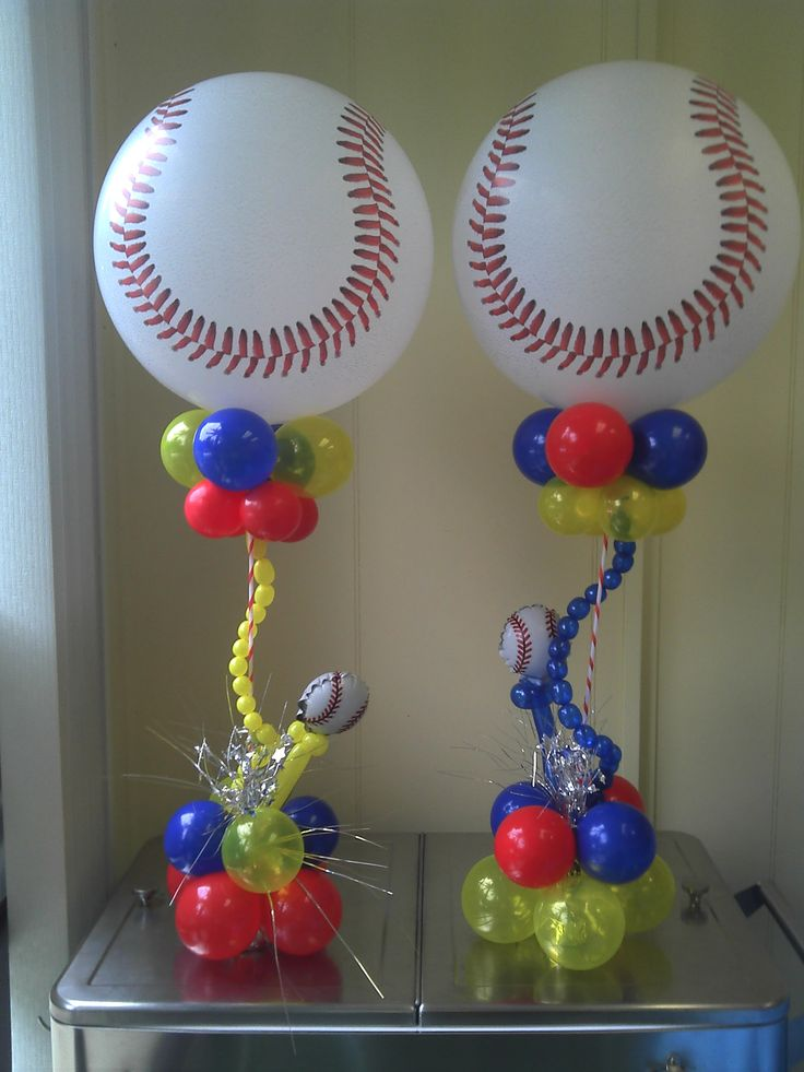 Baseball centerpieces masons 2nd bday pinterest for Balloon decoration accessories