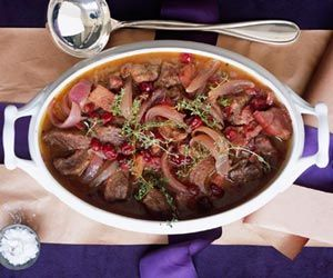 Cranberry Pork Stew made with cranberry sauce and pinot noir wine.