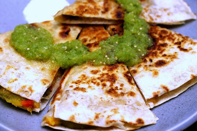 acorn squash quesadillas + tomatillo salsa recommended from my CSA ...