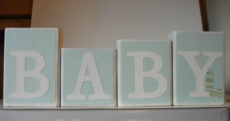 Baby Shower Centerpiece Nursery Decor Wood Blocks Blue. $20.00, via Etsy.
