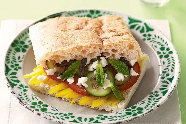Greek salad sandwich main image | menu | Pinterest