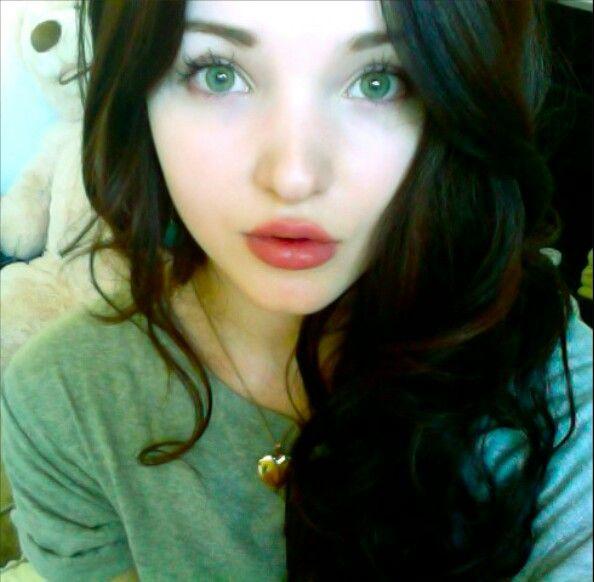 Dove Cameron Brunette Dark Hair Face Isolation Lips