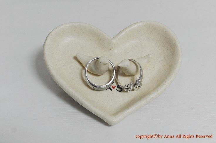 Personalised Wedding Gift Ring Dish : Custom tiny love bird couple ring bearer / ring dish / custom wedding ...