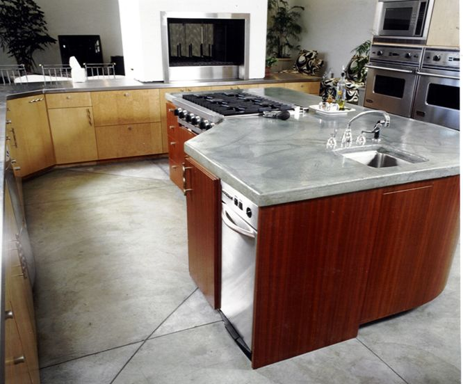 Bringing nature into a concrete kitchen countertop with materials like ...