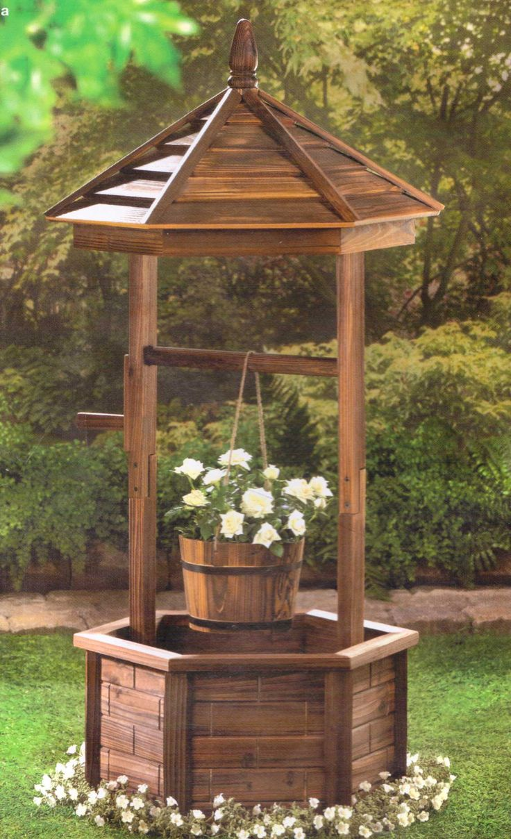 Rustic wishing well planter diy outdoor projects for Garden well designs