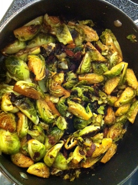 Garlic, brussel sprouts, bacon, salt, pepper, olive oil. Cooked on ...