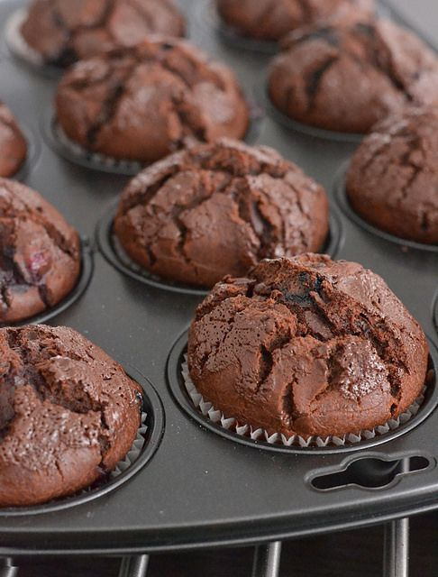 Double Chocolate Blueberry Muffins | sweet treats. | Pinterest