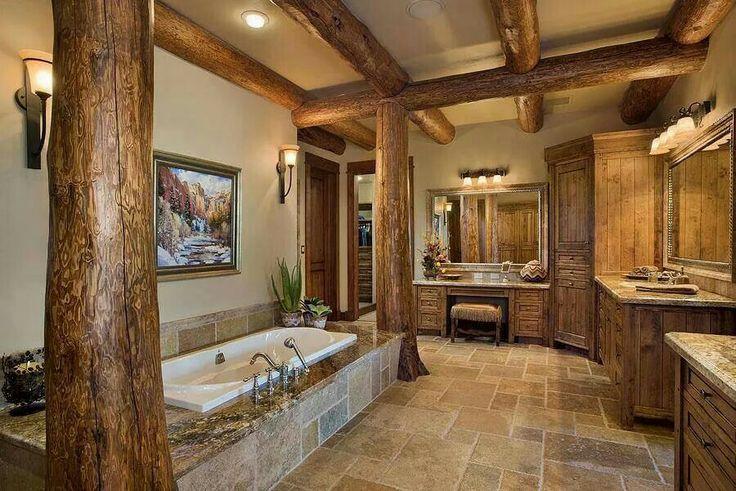 Cuartos De Baño Estilo Rustico:Amazing Log Cabin Bathroom