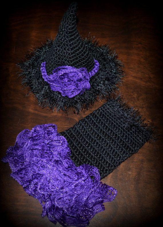 Newborn Crochet Witch Hat Pattern : Crochet Witch Halloween Tutu Dress & Hat Baby Girl Photo ...