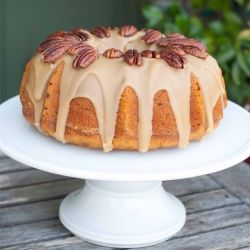 pumpkin pecan cake with a burbon brown sugar glaze, topped with ...