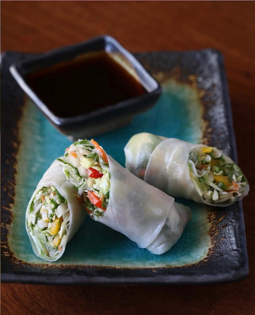 Spring Rolls with a spicy ginger dipping sauce from the cookbook Vegan Cooking for Carnivores. These bad boys are a favorite of Ellen and Portia's!