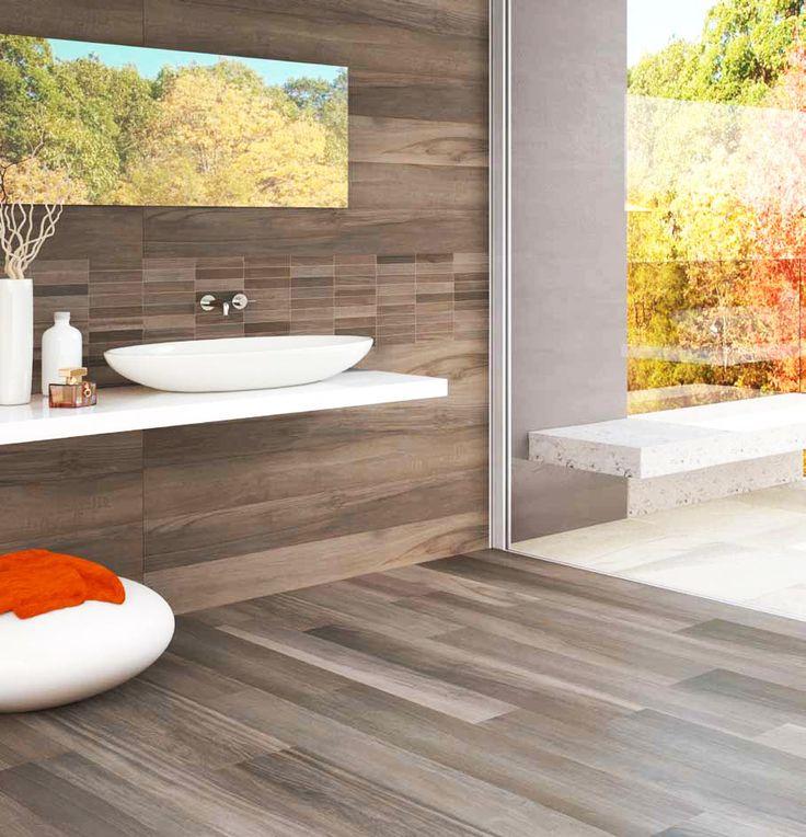 Wood look ceramic tile bathroom