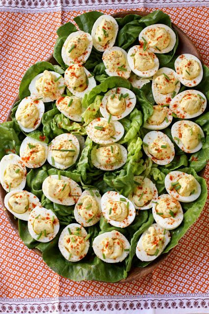 Creamy Deviled Eggs with cream cheese, relish, dijon & fresh chive