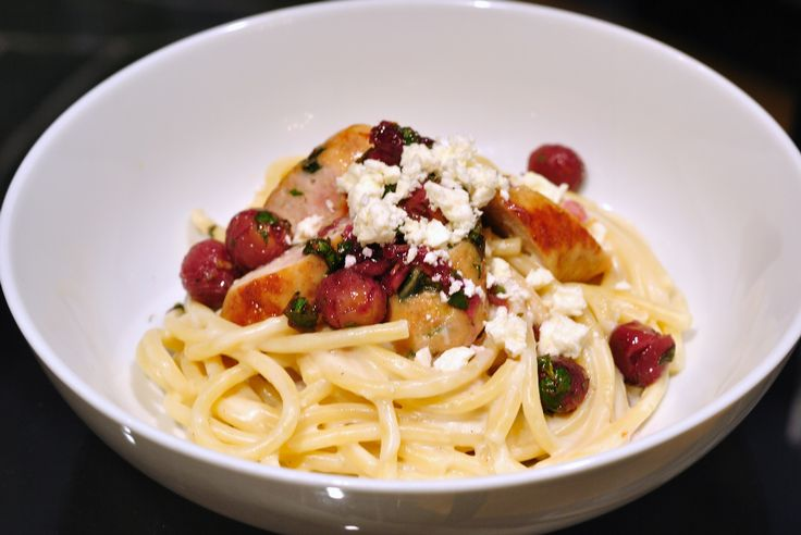 in creamy garlic-feta sauce, topped with chicken sausage, roasted ...