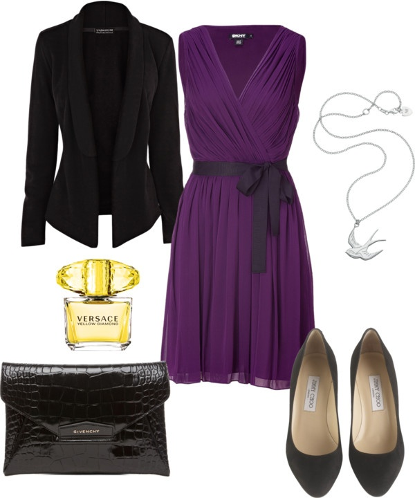 """Simple Purple and black date night outfit"" by natihasi on Polyvore"