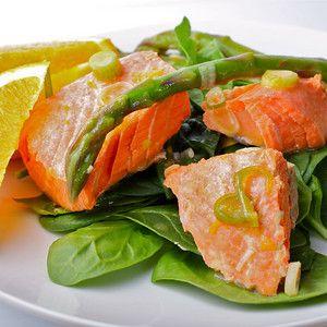 Poached Salmon with Asparagus and Orange Vinaigrette