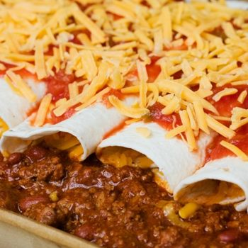 Easy Beef Enchiladas (add olives& green peppers)