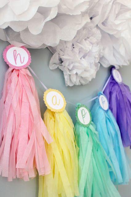 Icing Designs: DIY Pastel Tassel Garland with tissue pom clouds
